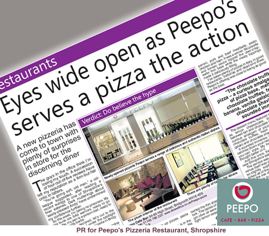 PR for Peepo Pizzeria, Shropshire Star