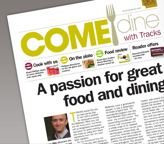Tracks Magazine 5 page feature on Food by James Day