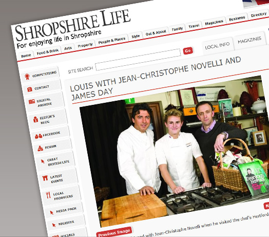 Shropshire Life Cover James and his clients Chocolatier Louis Barnett and Jean Christoph Novelli